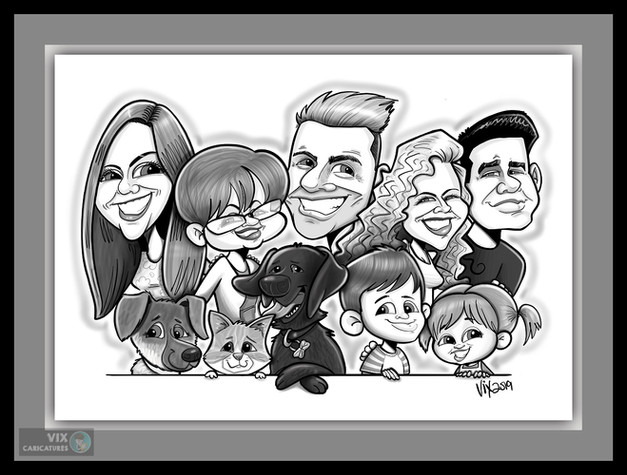 Colour Caricature gift from photos 5 fam