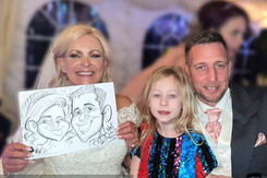 bride and groom caricature at a wedding