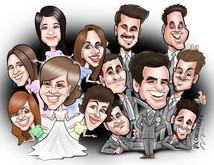 bride bridesmaids groom and groomsmen caricature