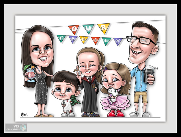 Colour Caricature gift from photos 1 fam