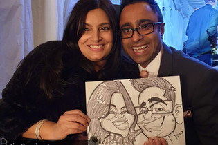couple caricature at a wedding