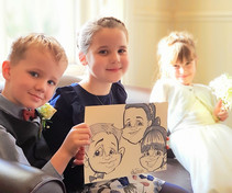 childrens caricature at a wedding