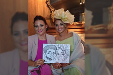 2 ladies caricature at a wedding