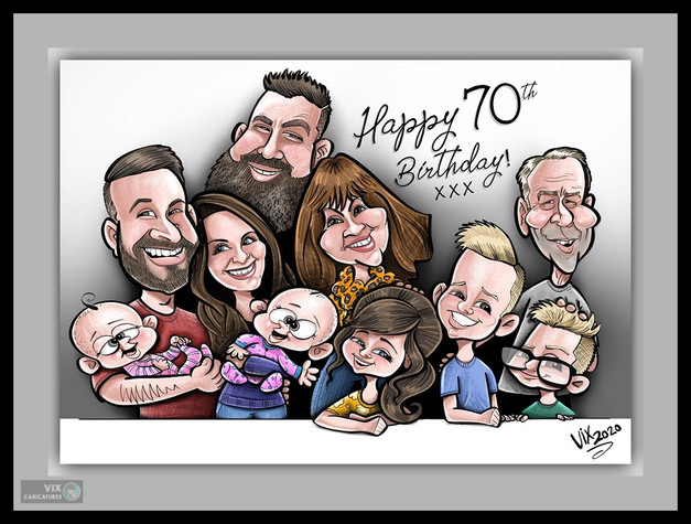 Colour Caricature gift from photos 8 fam