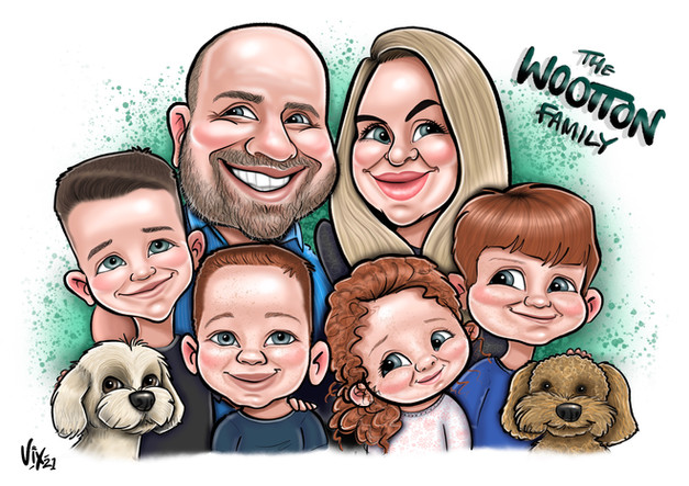 Family Gift Caricature drawn digitally in Procreate on an ipad pro with an apple pencil.