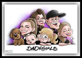 Colour Caricature gift from photos 4 fam