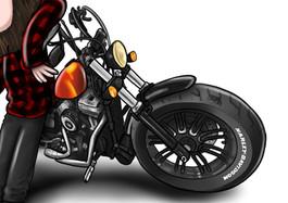Motorbike Vehicle Caricature