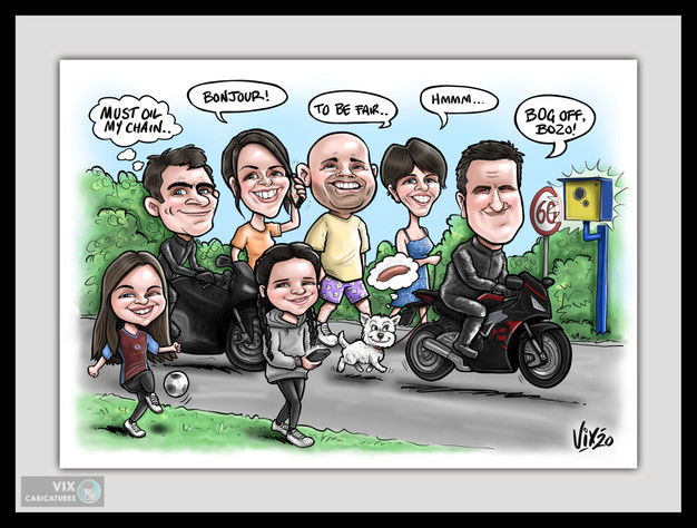 Colour Caricature gift from photos 3 fam