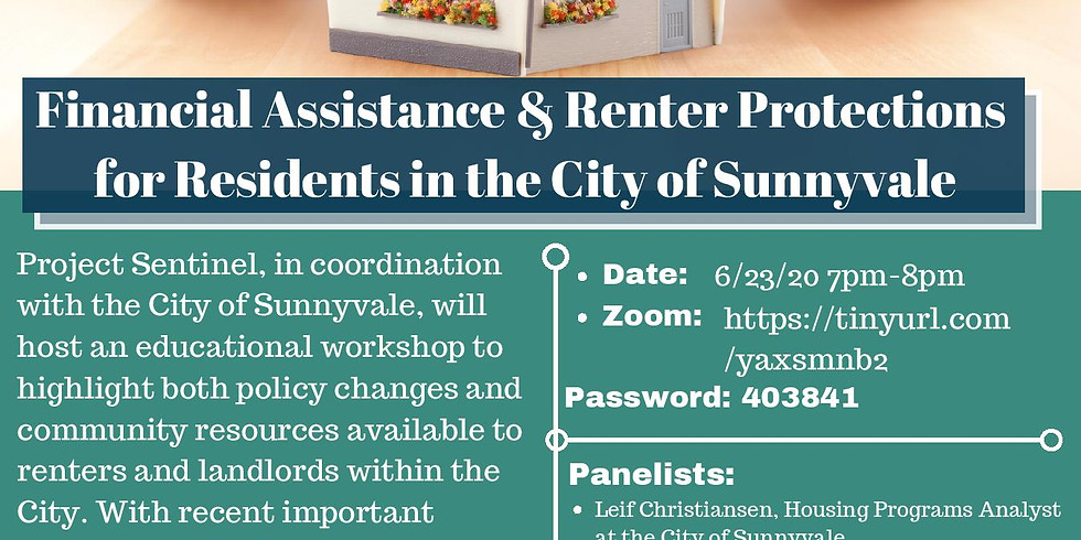 Financial Assistance & Renter Protections for Residents in the City of Sunnyvale