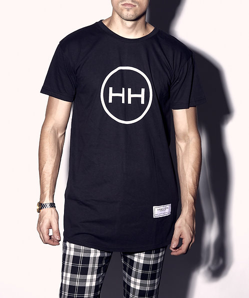 Hollywood Hamilton black round hem tshirt with ducktail