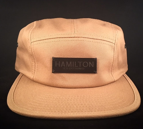 Front view khaki and leather Hollywood Hamilton Clothing streetwear 5 panel