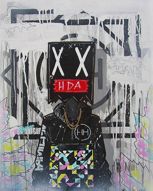 HH x I.boms Abstract Shapes mixed media art canvas