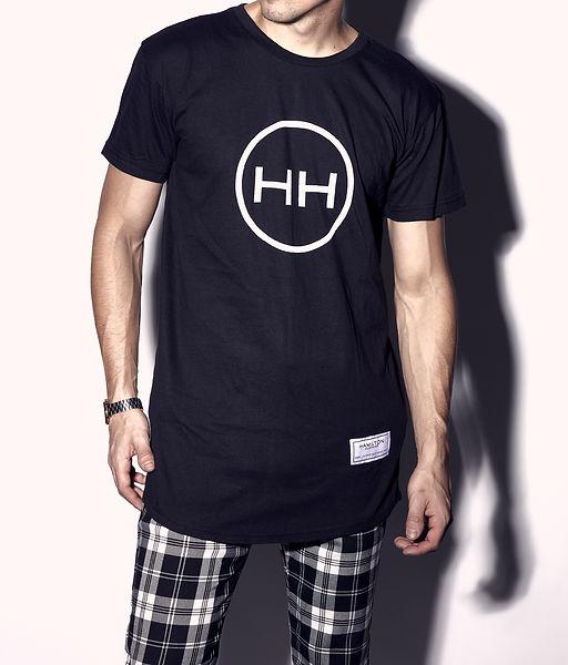 Hollywood Hamiton clothing small HH circle log long line round hem tee