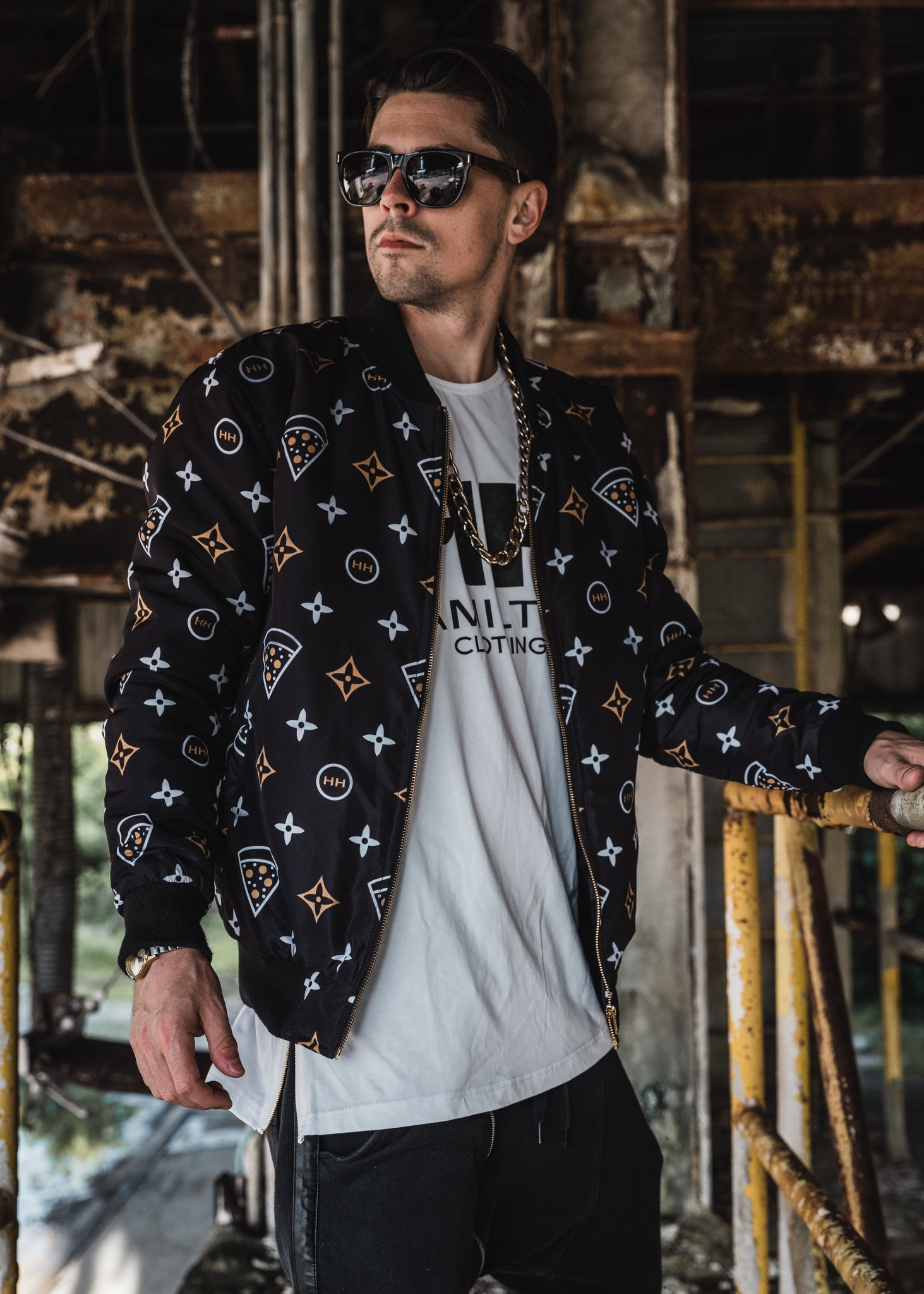 Hollywood Hamilton limited edition bomber jacket, gourmet pizza