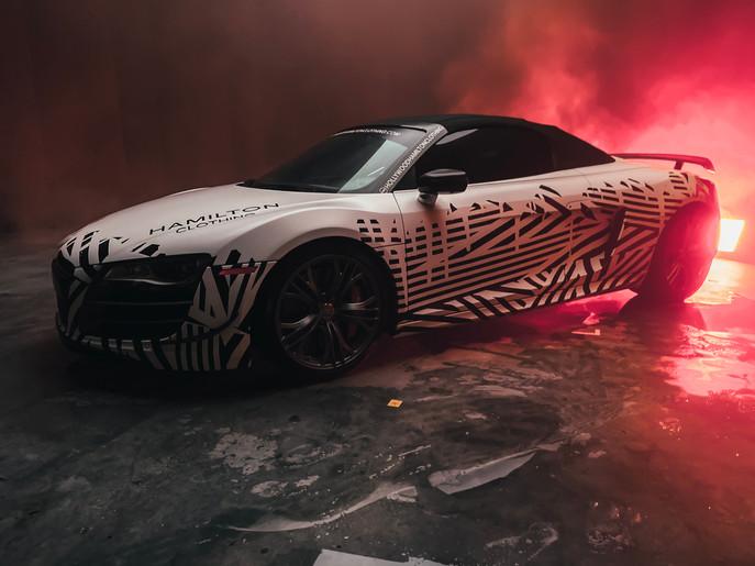 Hollywood Hamilton Audi R8 GT zig zag wrap by Metrowrapz Miami
