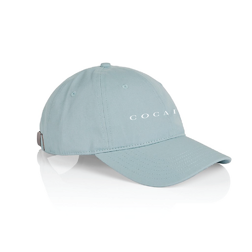 side view pale blue cocaine dad hat hollywood hamilton