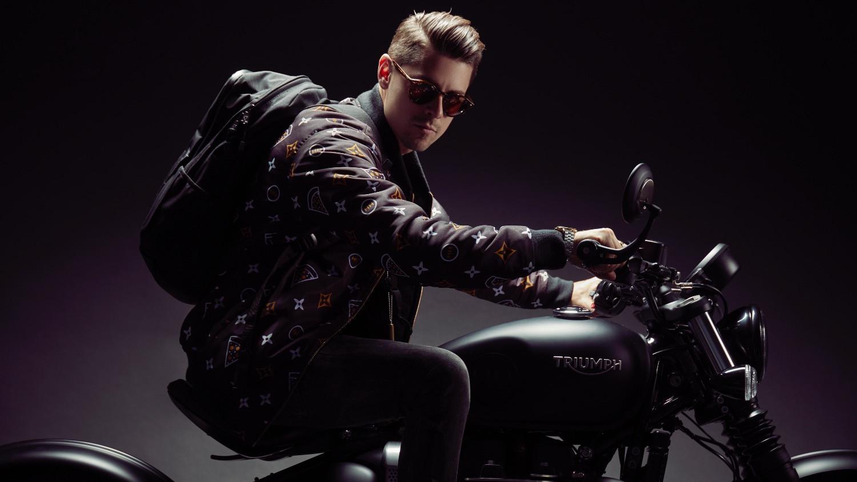 Hollywood Hamilton Gourmet pizza jacket and motorcycle