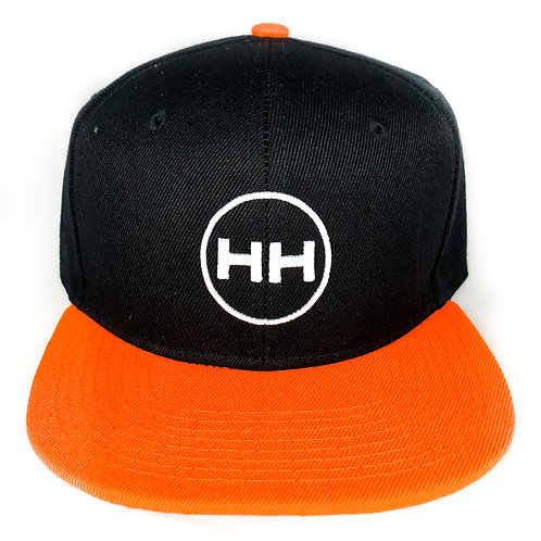 black/ orange classic logo snapback hat front view