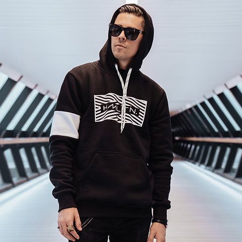 Zig Zag hoodie front view model hollywood hamilton