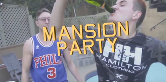 durte dom wearing Hollywood Hamilton clothing mansion party drinking champagne
