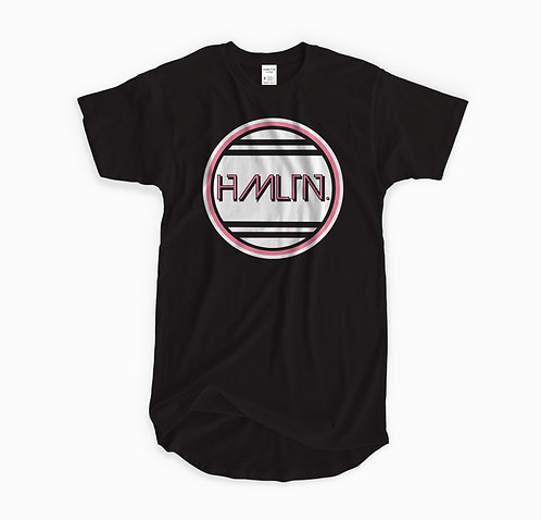 front mock view of hmltn retro miami t-shirt hollywood hamilton