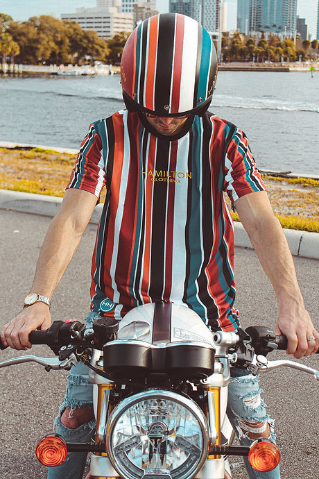 Hollywood Hamilton deep autumn tshirt with matching deep autumn stripe helmet hh x triumph collection