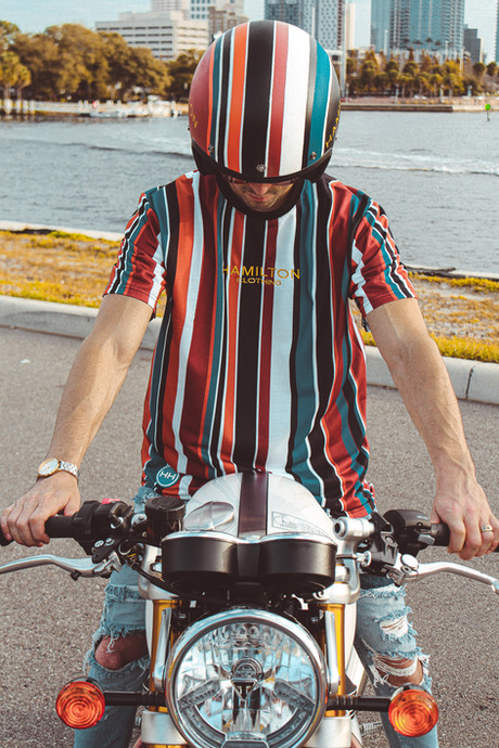 Hollywood Hamilton deep autumn tshirt with matching deep autumn stripe helmet hh x triumph collection