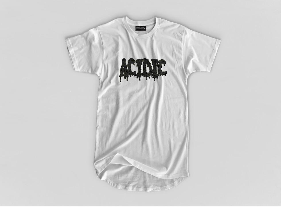 black acidic logo on a white tshirt