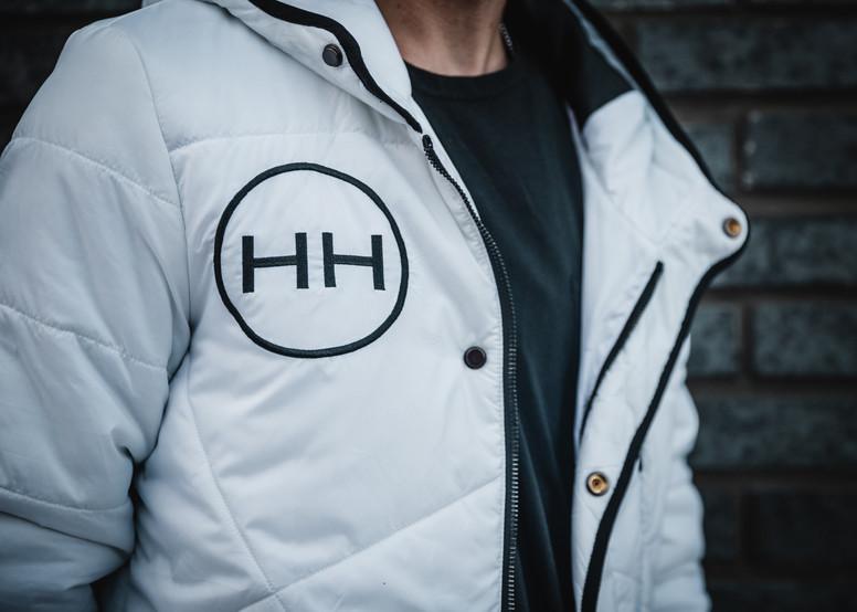Hollywood Hamilton Clothing hyper jacket hyper white right chest logo close up