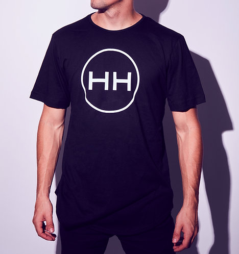 Hollywood Hamilton black scallop shirt with white circle logo design tampa streetwear clothing