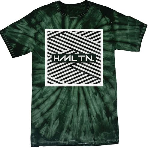 Hollywood Hamilton tie dye tee, green tie dye tshirt, green and white tie dye shirt, mens tie dye, hollywood hamilton zig zag