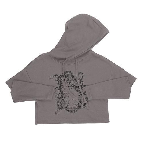 Medusa Cut Out Sleeve Crop Hoodie