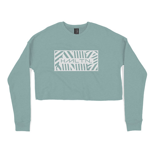 Zig Zag Crop Crewneck Sweater (Mint)