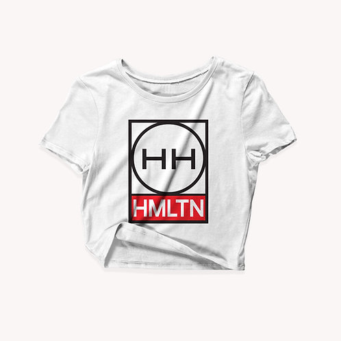 mock front view of hmltn circle square ladies crop tee