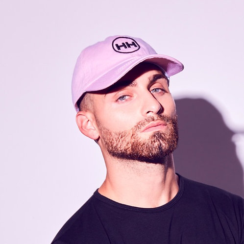 front view hh pink dad hat mens