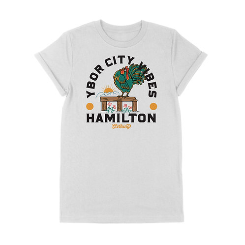 Ybor City Vibes Rolled-Cuff Tee (White)