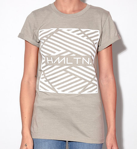 front view of model wearing zig - zag rolled cuff tee in stone grey hollywood hamilton clothing