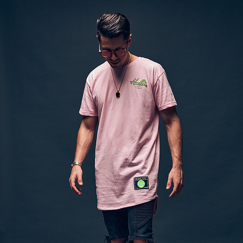 cursive hmltn tampa pale pink extended length tee hollywood hamilton clothing streetwear