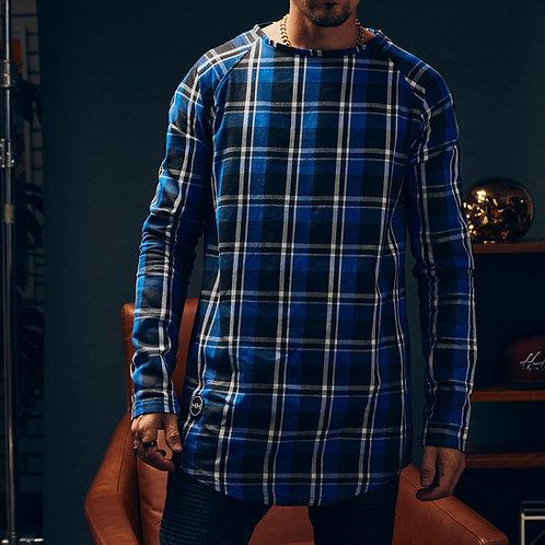 Model Wearing the Blue Un-Buttoned buttondown