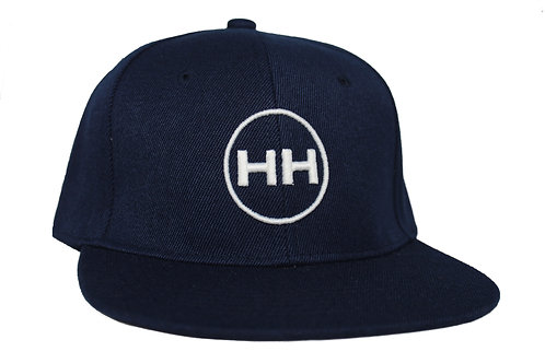 front view navy snapback logo with white embroidery
