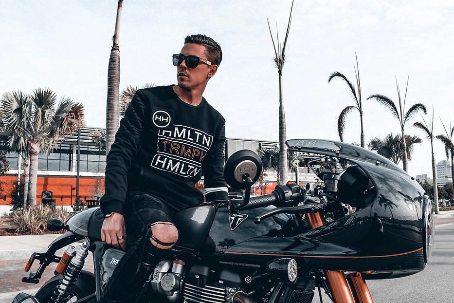 Hollywood Hamilton Triumph Motorcycles crewneck sweatshirt
