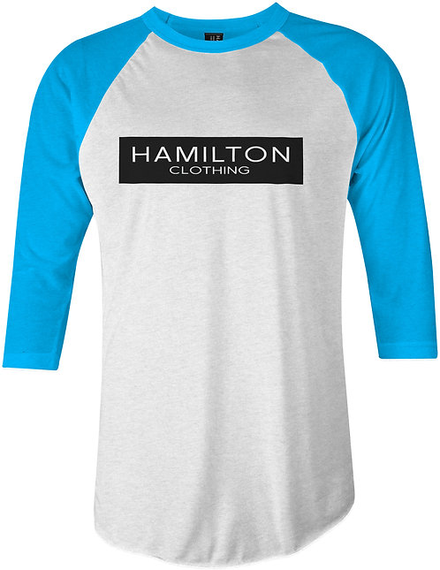 front view hamilton black bar 3/4 sleeve raglan