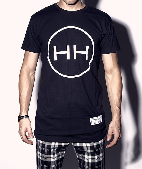 Hollywood Hamilton Large HH Circle logo round hem tee front