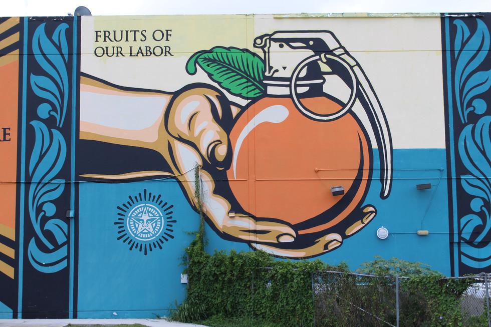 Hollywood hamilton clothing street art shepard fairey fruits of our labor mural miami wynwood mana wnywood mural obey