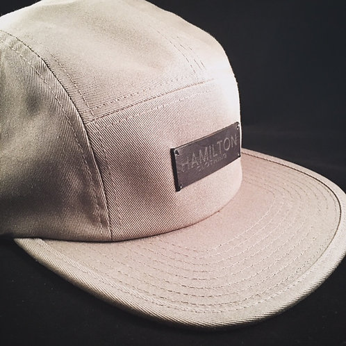 Front view grey and leather Hollywood Hamilton Clothing streetwear 5 panel