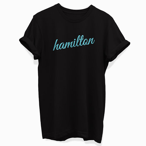front mock view of teal cursive hamilton rolled cuff tee