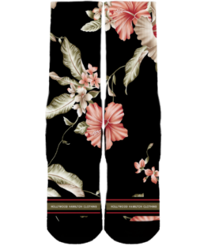 floral socks black with floral print