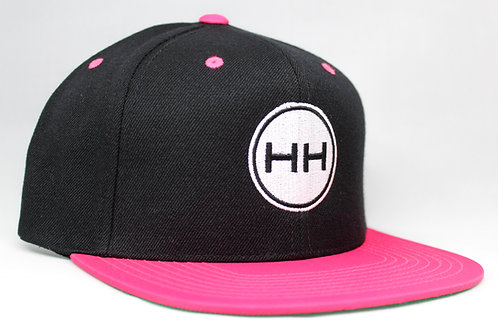 HH two tone pink black white snapback front view