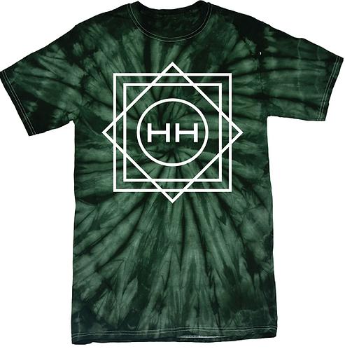 Hollywood Hamilton tie dye tee, green tie dye tshirt, green and white tie dye shirt, mens tie dye, streetwear tie dye