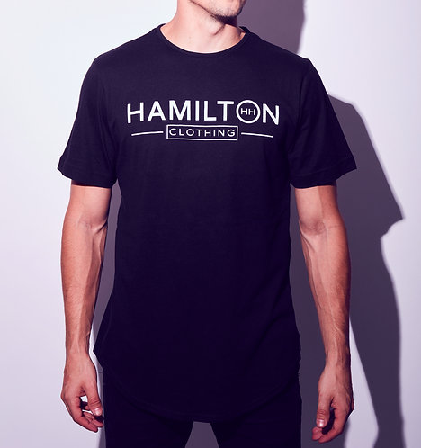 hollywood hamilton tee traditional logo black and white scallop cut streetstyle shirt